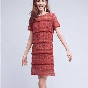 Anthropologie Zero 2 Sky Dress Fringe Rose Crochet
